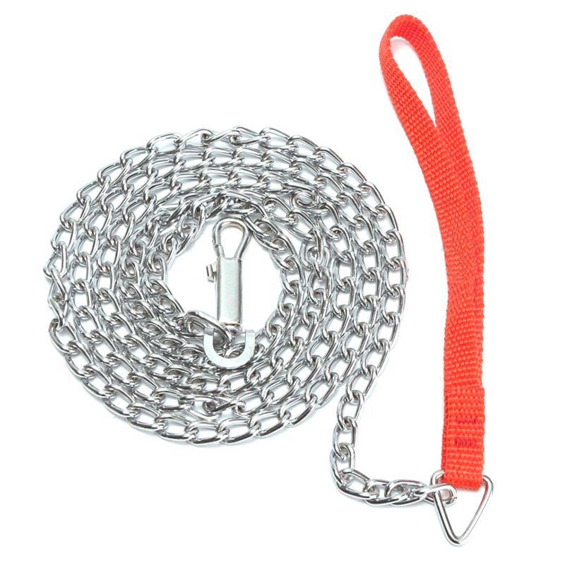 1.6m Heavy Duty Metal Chain Dog Puppy Walking Lead Leash Clip Red Handle