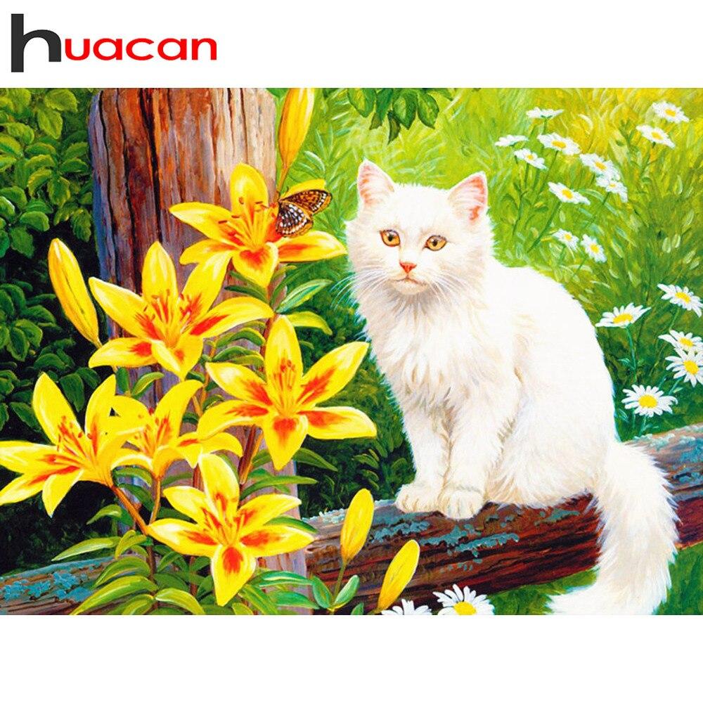 Huacan DIY Diamond Painting Animal Cat 5D Embroidery Sale Full Square Diamond Mosaic Cross Stitch Rhinestone Home Decor Gift