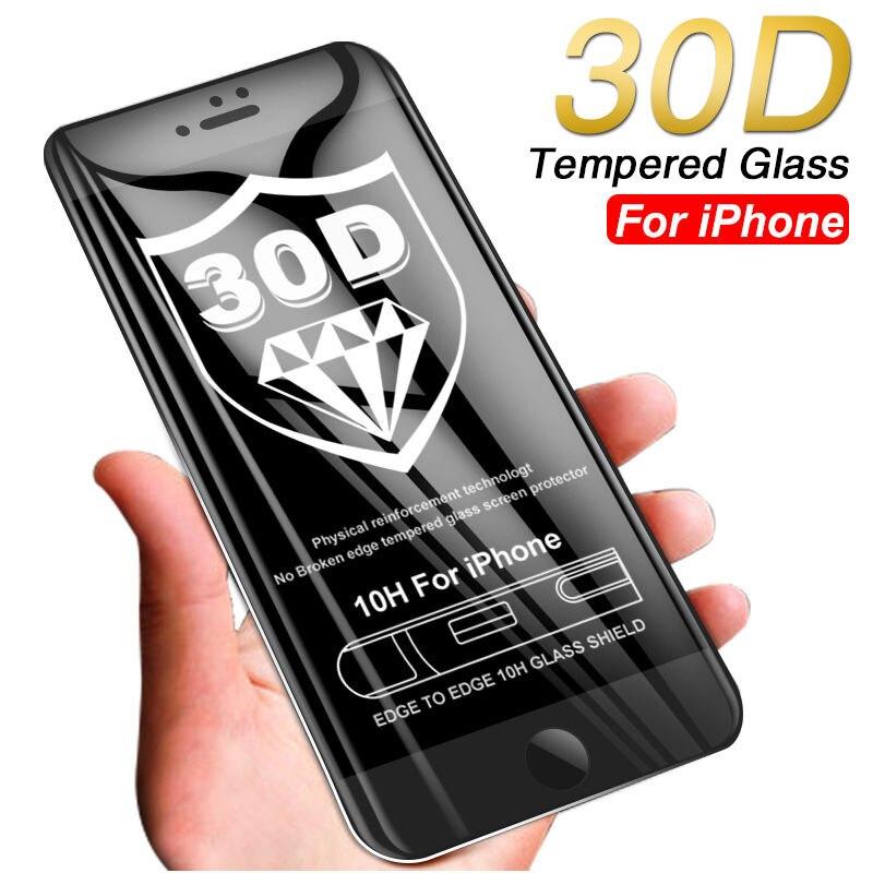 Vidro temperado 30d para iphones, vidro temperado protetor borda completa 30d para iphone 7, 8, 6, 6s, plus, xr, x protetor de tela de iphone xs max, vidro protetor