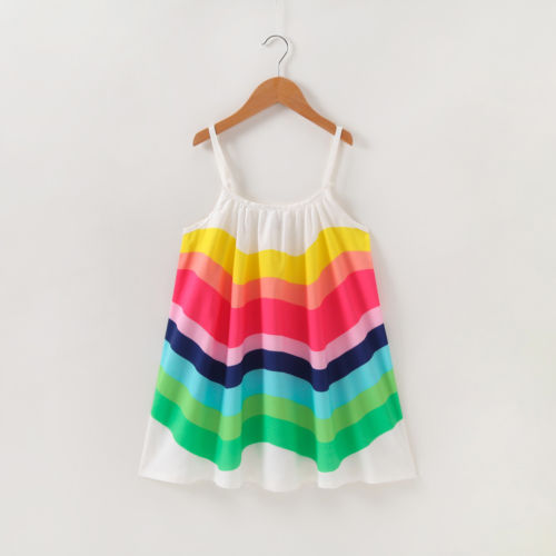 Vestido algodão do arco-íris para bebês meninas, vestido de festa sem mangas para praia do reino unido