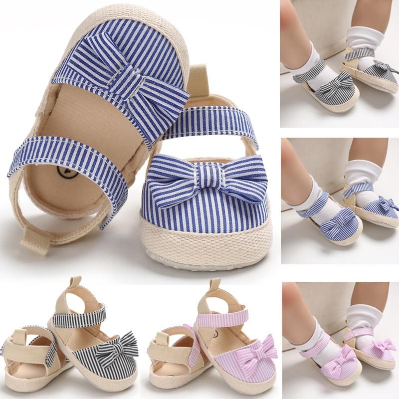 Zapatos de bebé de verano para Niña de primavera, calzado rayado para niñas recién nacidas, zapatos de cuna blandos, zapatilla antideslizante para niños, zapatilla para Prewalker de 0 a 18M