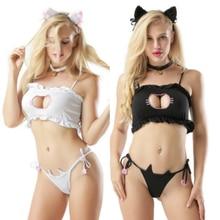 Love Live Cosplay Cute Sexy Kawaii Bra Set for Hello/Kitty Meow Cat Key Hollow Bra And Underwear Vestidos Anime Costume Lingerie