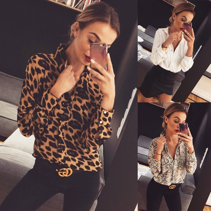 New women high street OL leopard print snakeskin print blouses female vogue fashion loose long sleeve off white shirts lady hot