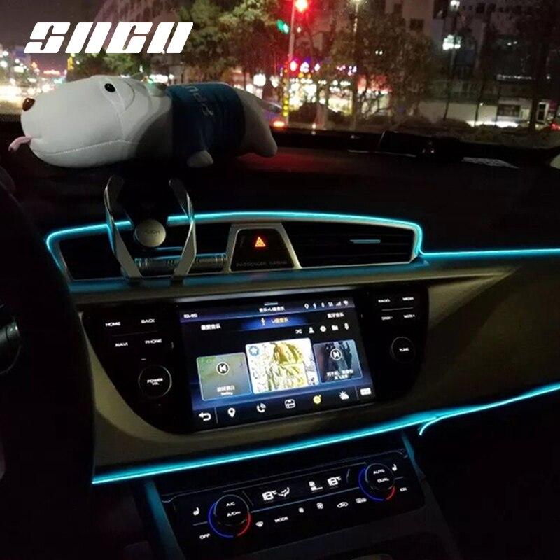 Flexible Neon Car Interior Atmosphere LED Strip Lights For Ssangyong Rexton Musso XLV Tivoli Korando Rodius Actyon Kyron