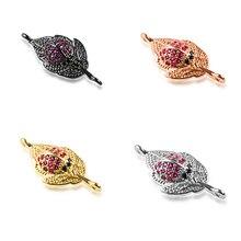 25*11mm Leaves Best Quality Diy Jewelry Bracelet Making Copper Cubic Zirconia Bracelet Necklace Pendant Accessories Connector