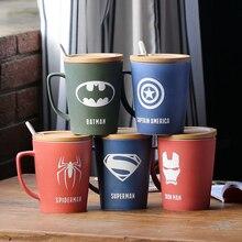 2019 Avengers Super Hero Movie Lasergravure Logo Keramische Mok Koffie Super Hero Kantoor Melk Thee Cup Met Deksel En lepel