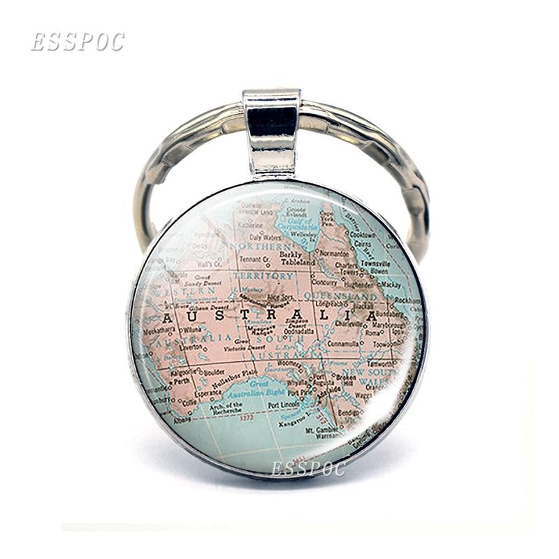 Подвеска в виде карты Австралии, стеклянный кабошон, брелок с купольной картой Новой Зеландии, модный Сувенирный брелок, подарок для женщин ...