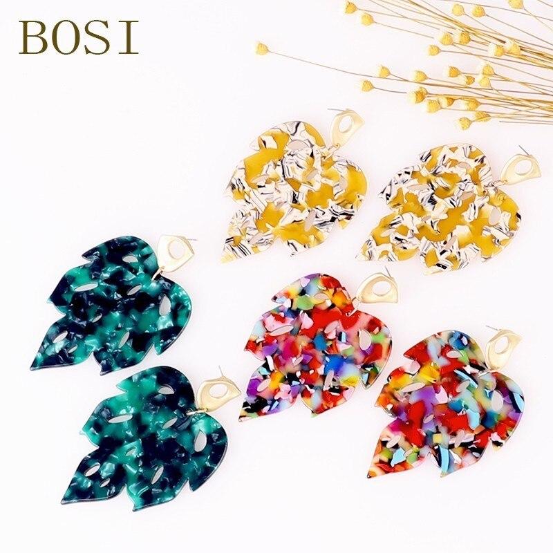 Acetate Leaf Earrings For Women Boho 2019 Dangle Drop Earrings Acrylic Face Fashion Big Bohemian Accessories Leopard African New