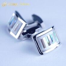 rhodium MOP shell cufflink shirt button masoic stone cufflinks for man accessory with mechanical backing OnlyArt jewellery