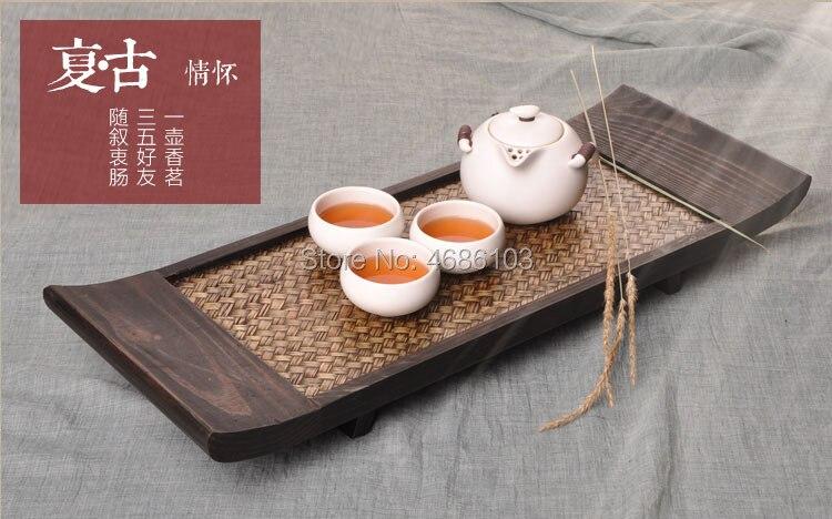 جنوب شرق آسيا نمط التايلاندية الخيزران المنسوجة مستطيلة اليابانية-نمط طاولة شاي الكونغ فو صينية الشاي خشب متين الجافة صينية الشاي الشاي