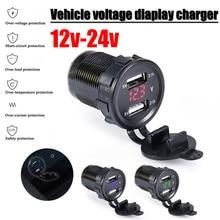 Voiture moto 12V/24V cc   Double Port, voiture, voltmètre de voiture, 4,2a, sortie de puissance, pour Ipad, voiture bateau téléphones portables,