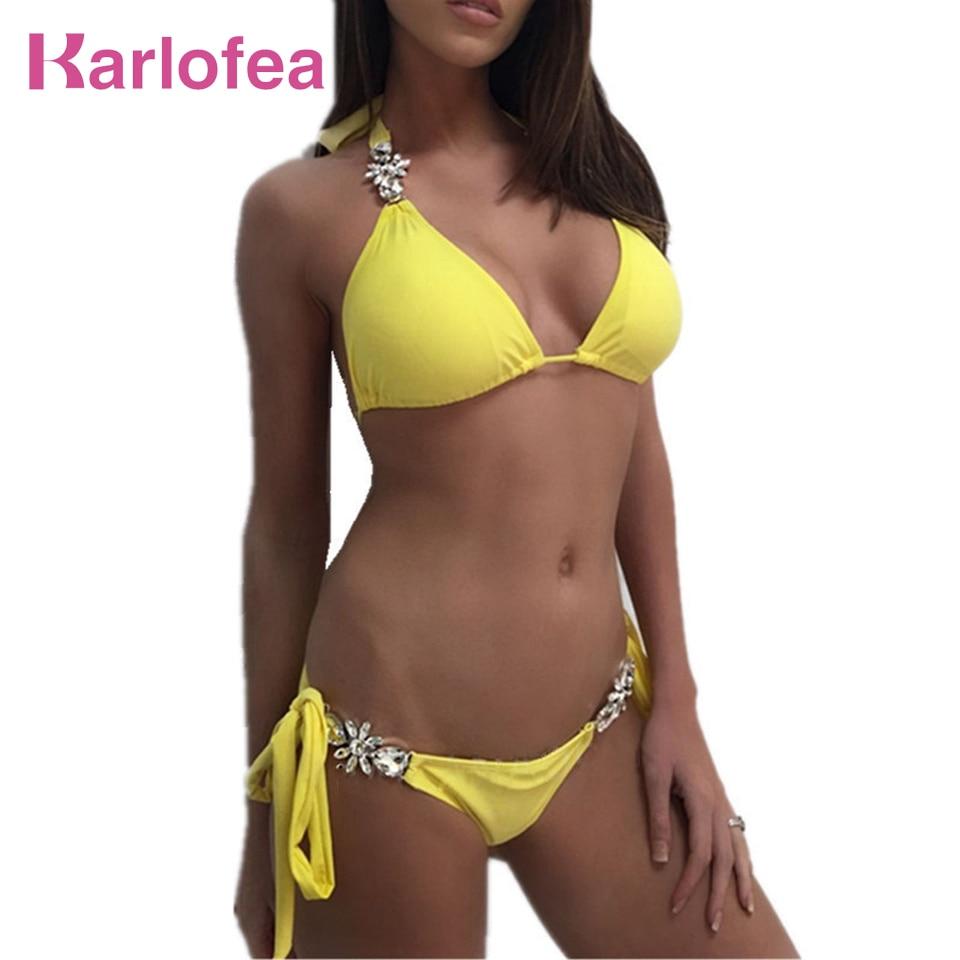 Karlofea cristal duas peças conjunto biquini sexy halter puch up acolchoado beachwear terno praia de banho cintura baixa biquini brasileiro terno