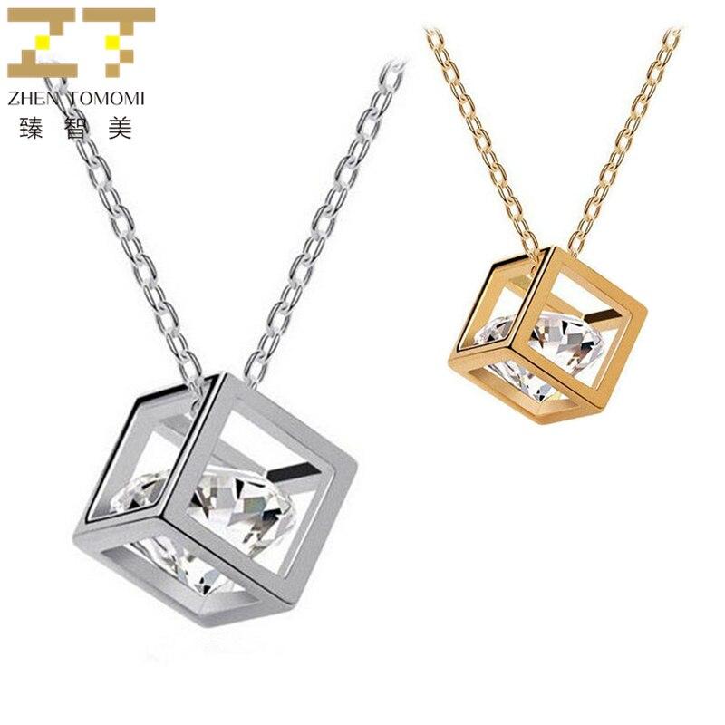 ¡Novedad de 2019! Collar gargantilla de cubos geométricos a la moda de Collier, collar de Colgante cuadrado tridimensional de circonio para joyería de mujer