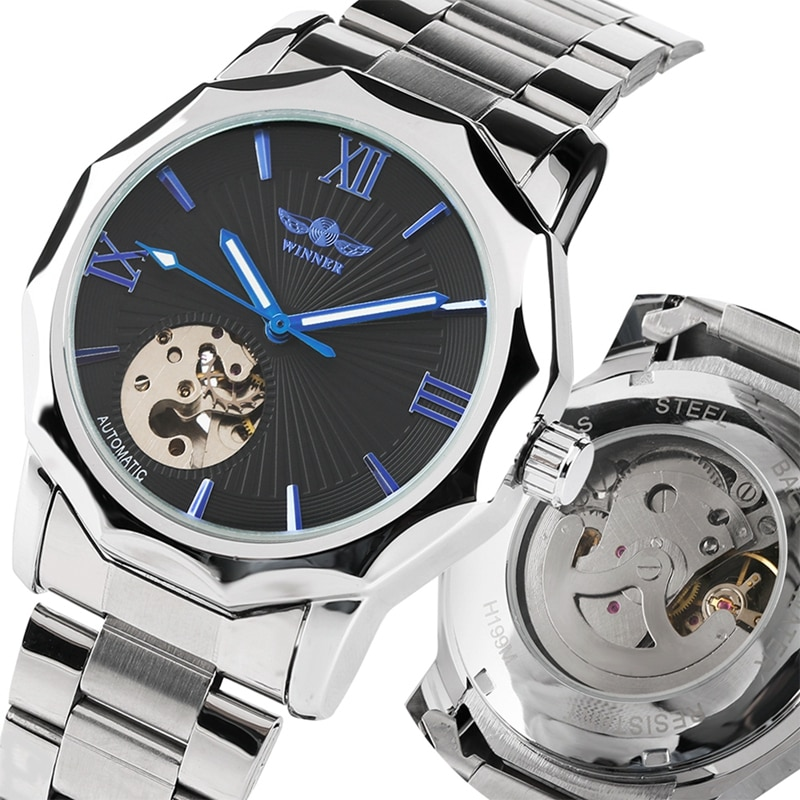 Relojes mecánicos automáticos WINNER para hombre, relojes de lujo de marca para hombre, Reloj clásico de acero inoxidable con esqueleto automático, reloj de moda para hombre