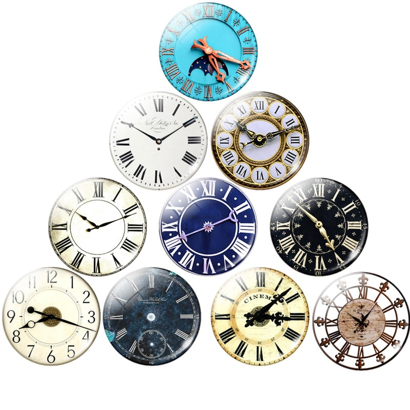 Round Retro Clock Pocket Watch Pattern Glass Cabochon For DIY Jewelry Making Findings 25MM Demo Flat