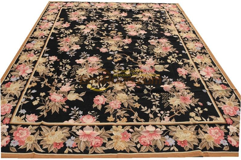 Grosso nó duplo simples de lã feito à mão marfim needlepoint tapete feito à mão decoração antiga tapete quadrado antigo