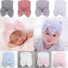 PUDCOCO Newest Kid Newborn Baby Infant Girl Boy Toddler Comfy Bowknot Striped Cap Kids Winter Warm Cotton Beanie Hat