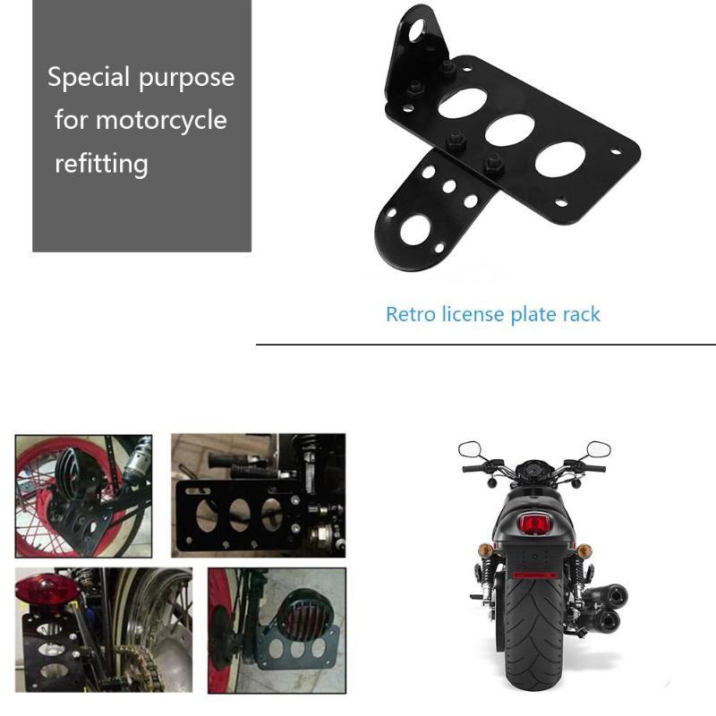 Universal montaje lateral para motocicleta de aleación de aluminio de la luz de la cola titular Vintage soporte de placa de matrícula apoyo de Moto Accessorieas