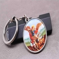 catholic double sided jesus icon key chain michael angel blue virgin mary christian icon key chain