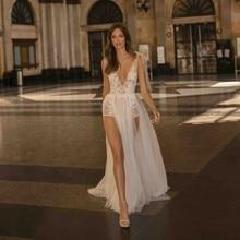 2019High Side Split Wedding Dress Sexy Sheer V Neck Backless Lace Bridal Gowns  Vestido De Novia Wedding Bride Gowns