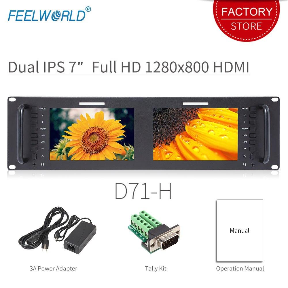 Feelworld D71-H Dual de 7 pulgadas HDMI AV 3RU de montaje en Rack Monitor Broadcast IPS HD 1280x800 pantalla LCD que muestra diseño fino con LAN en puerto
