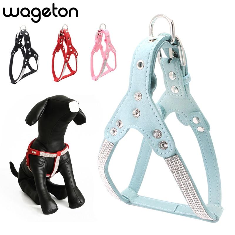 Arnés acolchado para perro Wageton con diamantes de imitación, chaleco, accesorios para mascotas, para cachorros pequeños, medianos, perros, rojo, negro, azul, Rosa S M L