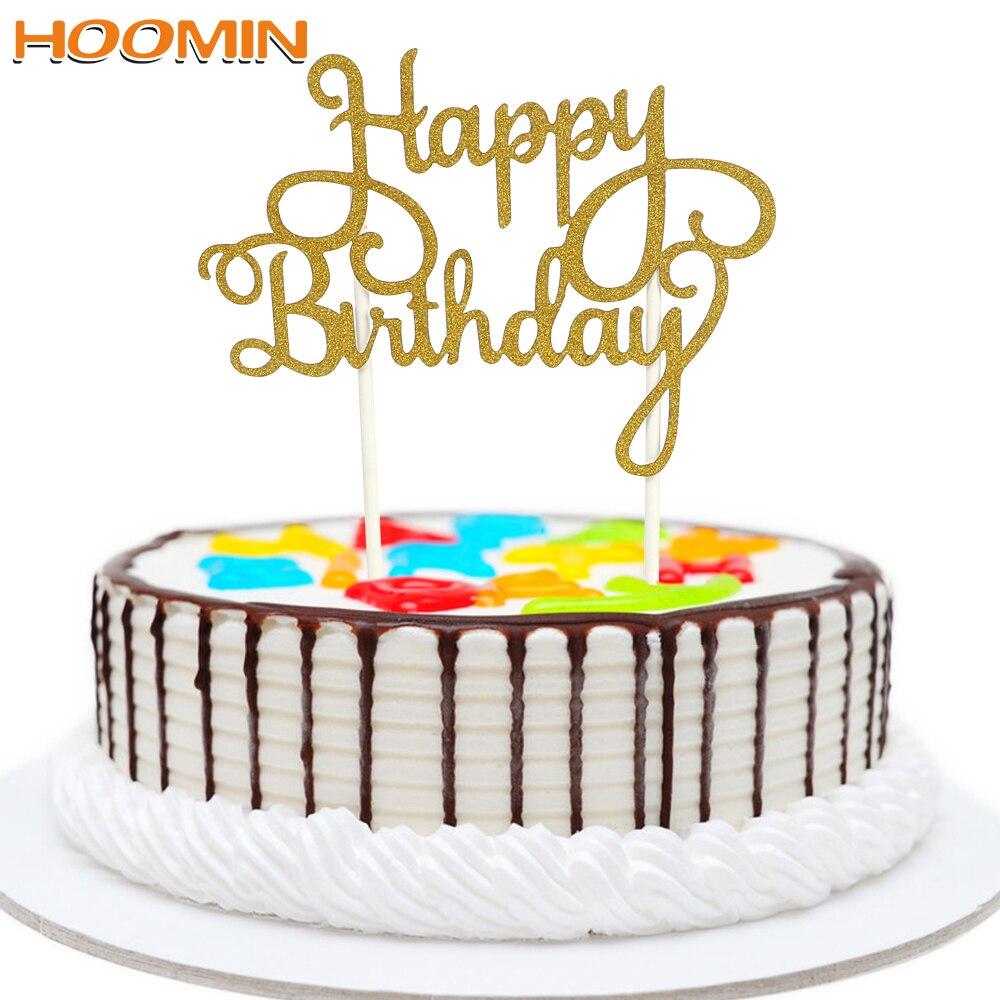 HOOMIN Feliz cumpleaños banderas para pastel Gadgets para fiesta de cumpleaños familiar herramientas para hornear pasteles decoración doble palo