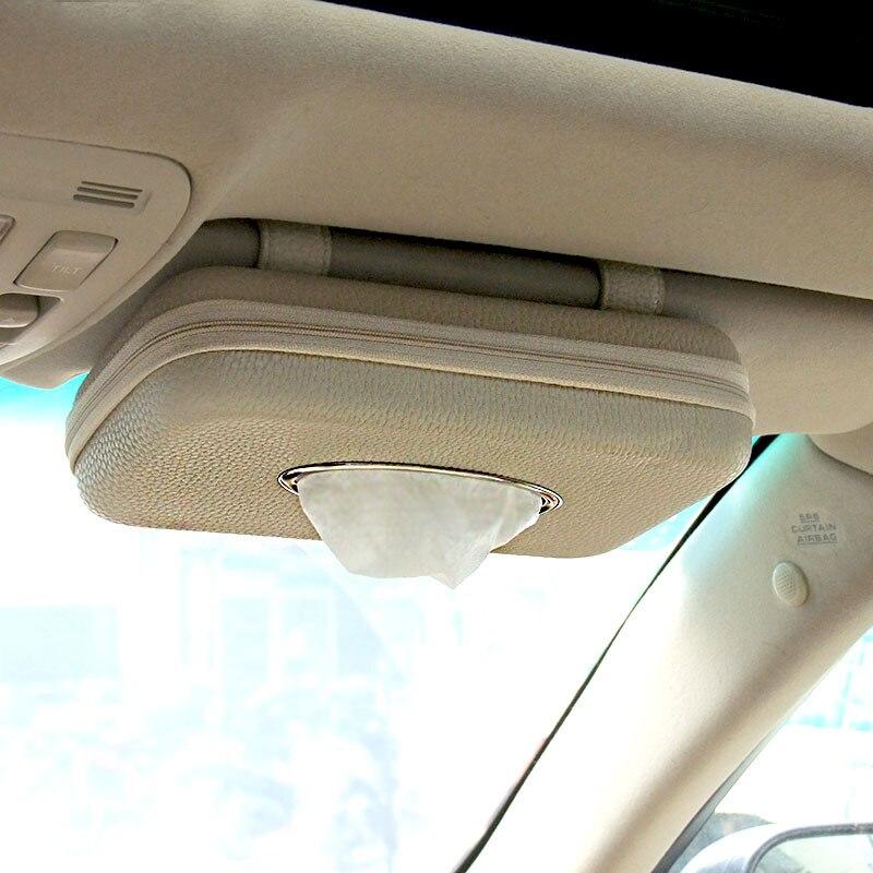 Servilleta con forma de coche, caja de pañuelos para colgar, cajas de almacenamiento de sombrilla de coche, visera de Sol de cuero de microfibra, sujetadores de papel tisú