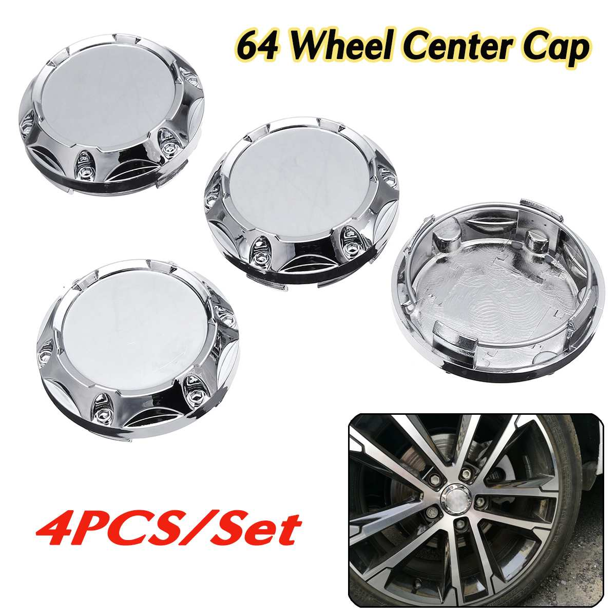 Universal 4pcs 64mm Car Silver Wheel Center Rim Hub Caps Wheel Center Cover Emblem Bandages