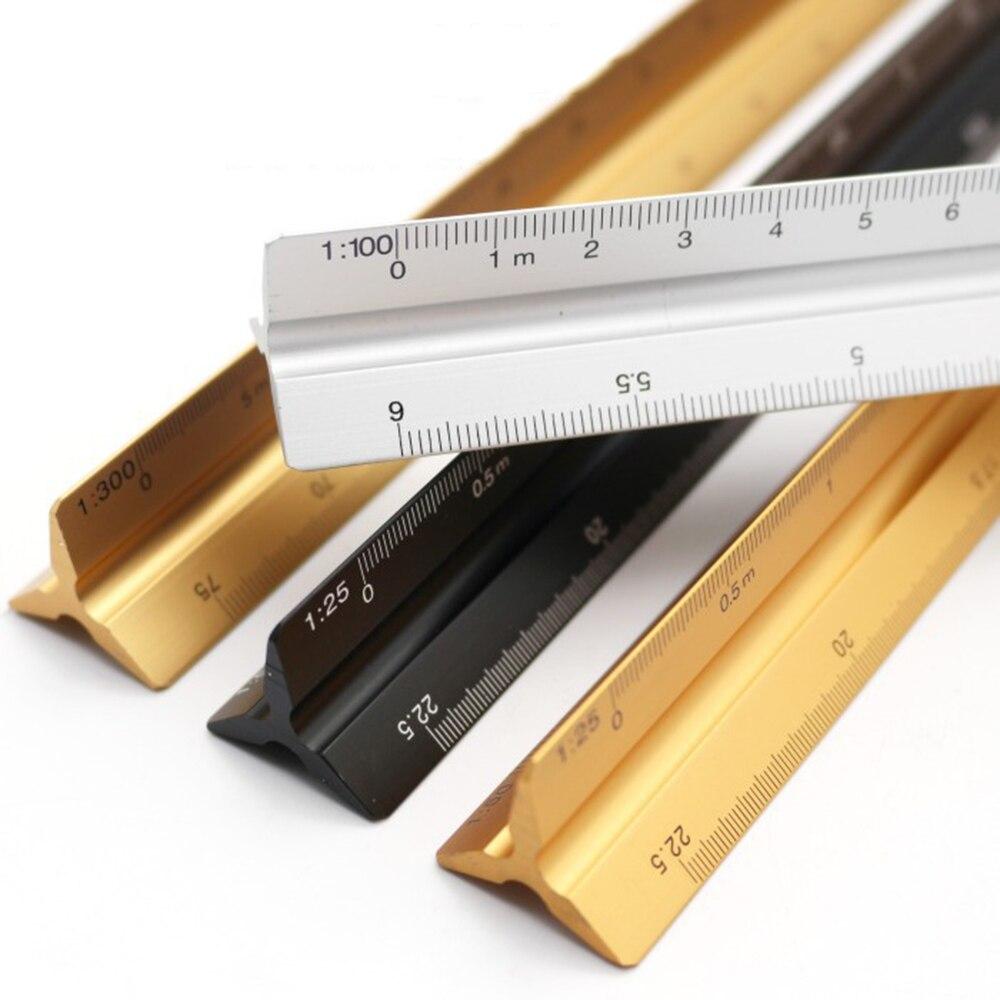 Regla triangular de aluminio, Escala de 300mm, aluminio para arquitectos, ingenieros, escuela, hogar y oficina