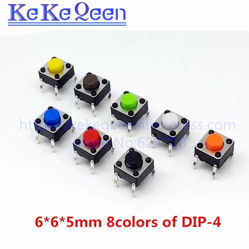 100 Uds 6*6*5mm agujero pasante Micro botón táctil interruptor electrónico marrón azul negro rojo naranja verde amarillo blanco