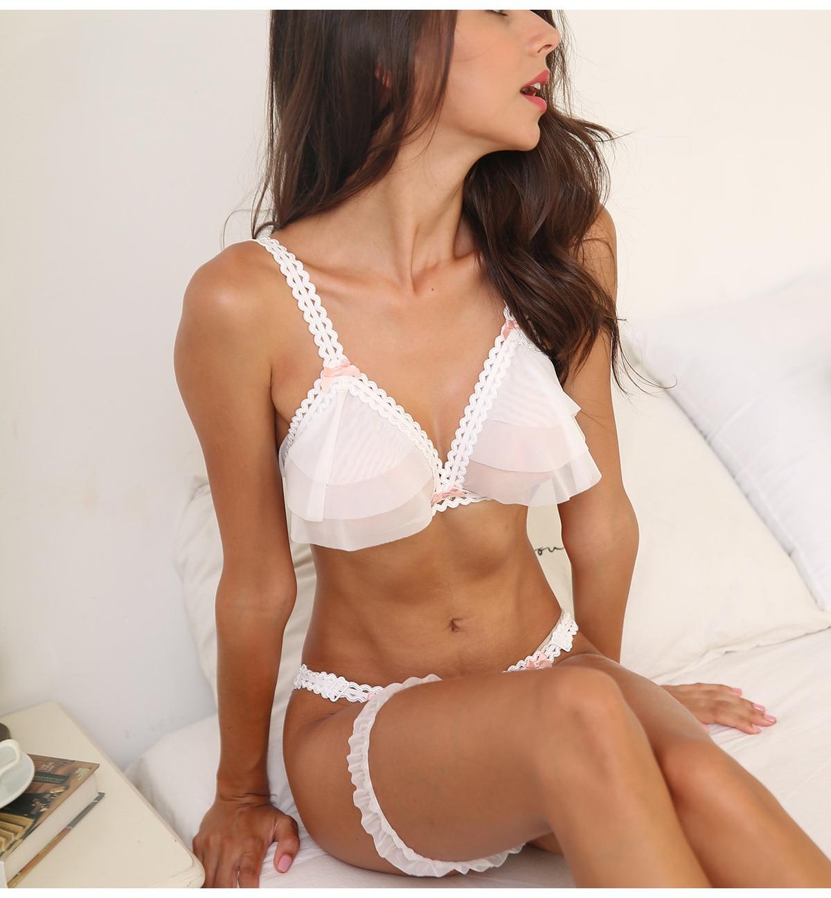 Bonito ultra-fino gaze transparente sexy push up bra define tentação casamento roupa interior sem fio sutiã crotchless calcinha conjunto