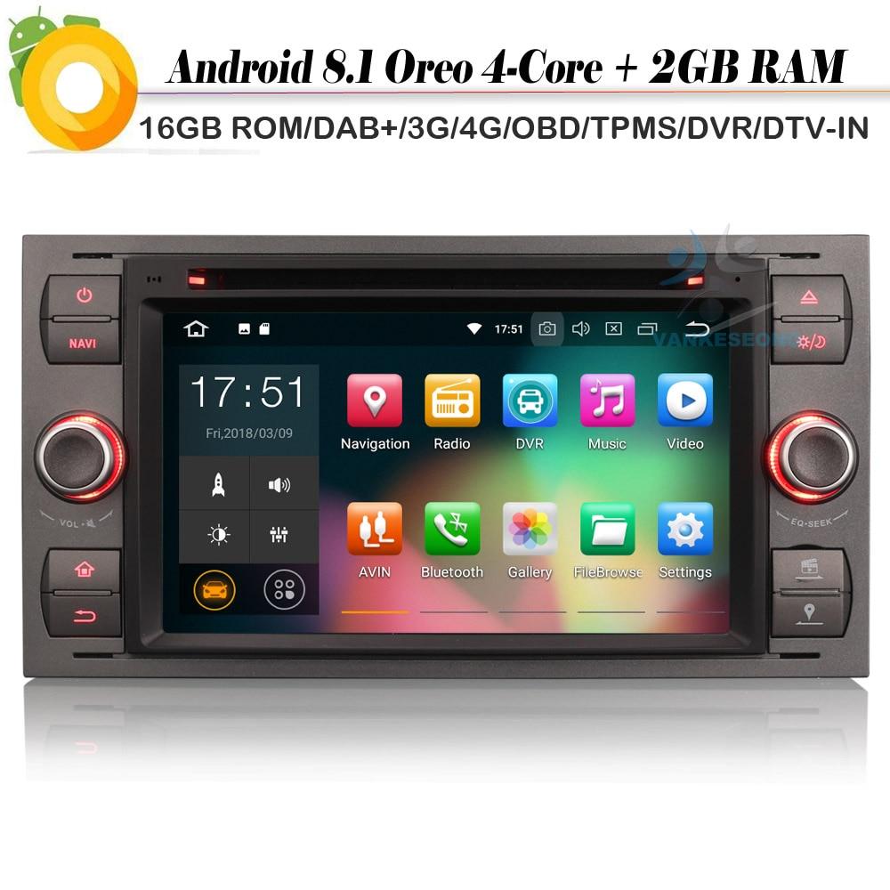 DAB + Quad Core Android 8,1 Autoradio sentado Navi GPS Radio 4G DVR OBD DVT-IN Bluetooth reproductor de CD de coche para FORD Fusion conectar c-max