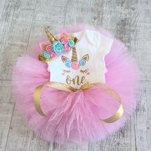 Pudcoco Niñas Ropa recién nacido chico niñas Pelele de unicornio vestido mini con tutú 3 uds ropa