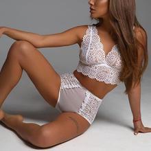 2PCS/Set Translucent Sexy Lace Bra Set Women Panties Lingerie Push Up Bra Hollow Briefs Intimates Ladies Underwear Panty Set