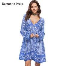 Summer Loose Boho Dress Beach Chic Tunic Wide Party Ethnic Long Sleeve Deep V Neck Short Dresses Large Size  Vestidos