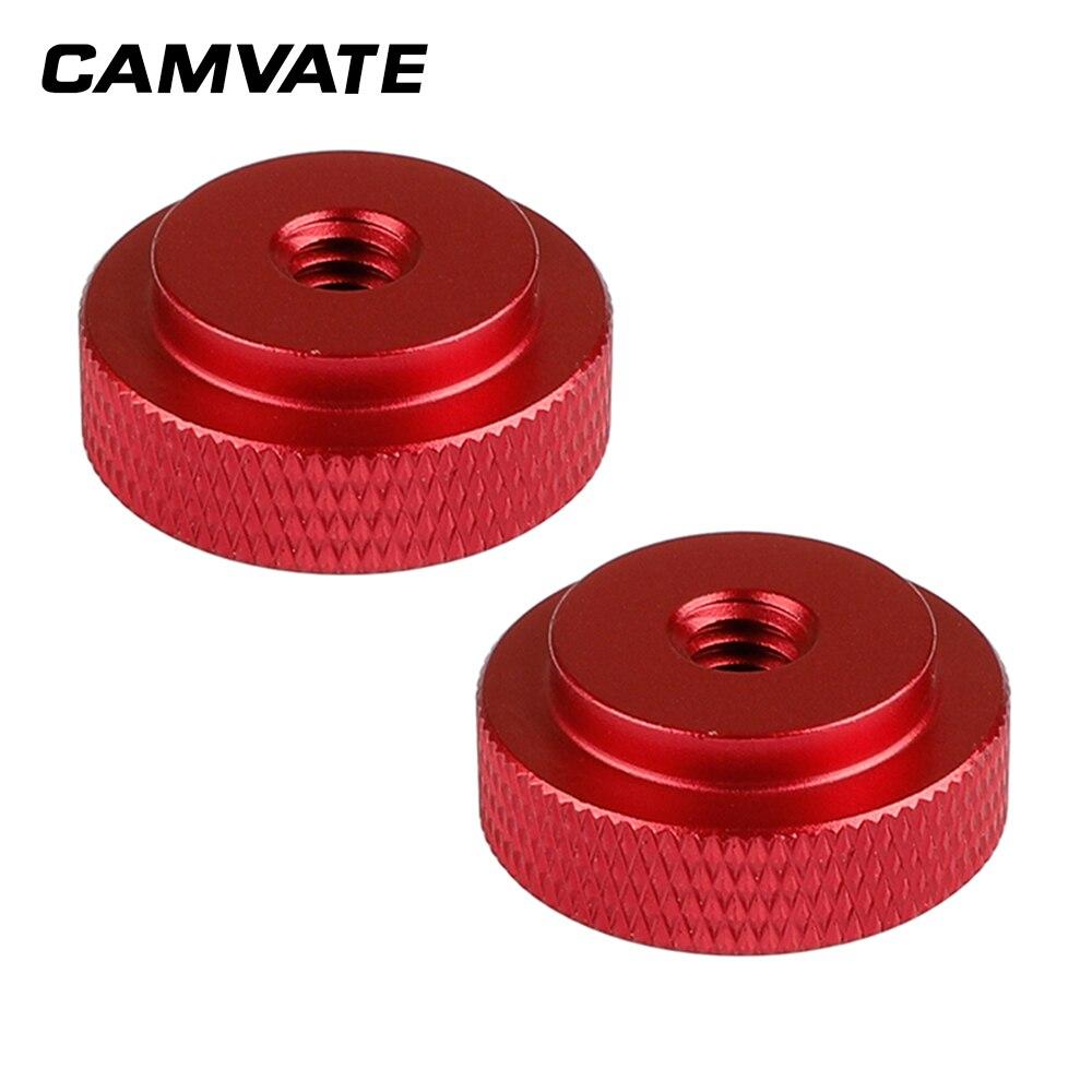 CAMVATE 2 uds 1/4-20 hembra pulgar tuerca de bloqueo adaptador de aluminio 25mm diámetro para trípode de cámara C1490