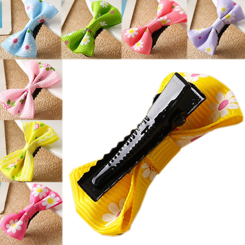 Pinzas para el cabello de colores pastel, minipinzas para el cabello con diseño Floral de puntos lisos, 1 pieza/4 Uds., accesorios para el cabello con lazo a la moda para niñas y niñas, lazos para niños
