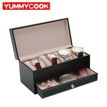 Boîte à bijoux en cuir PU noir   Montre classique à, rangement de bijoux, boucles doreilles, collier, pour femmes et hommes, accessoires fournitures