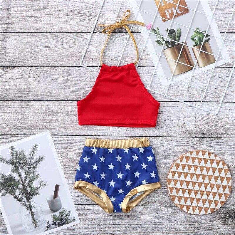 2020 Nieuwe Zomer Kids Baby Meisje 4th Juli Bikini Set Leuke Star Print 2 Stuks Badmode Badpak Badpak 1 Om 6Y