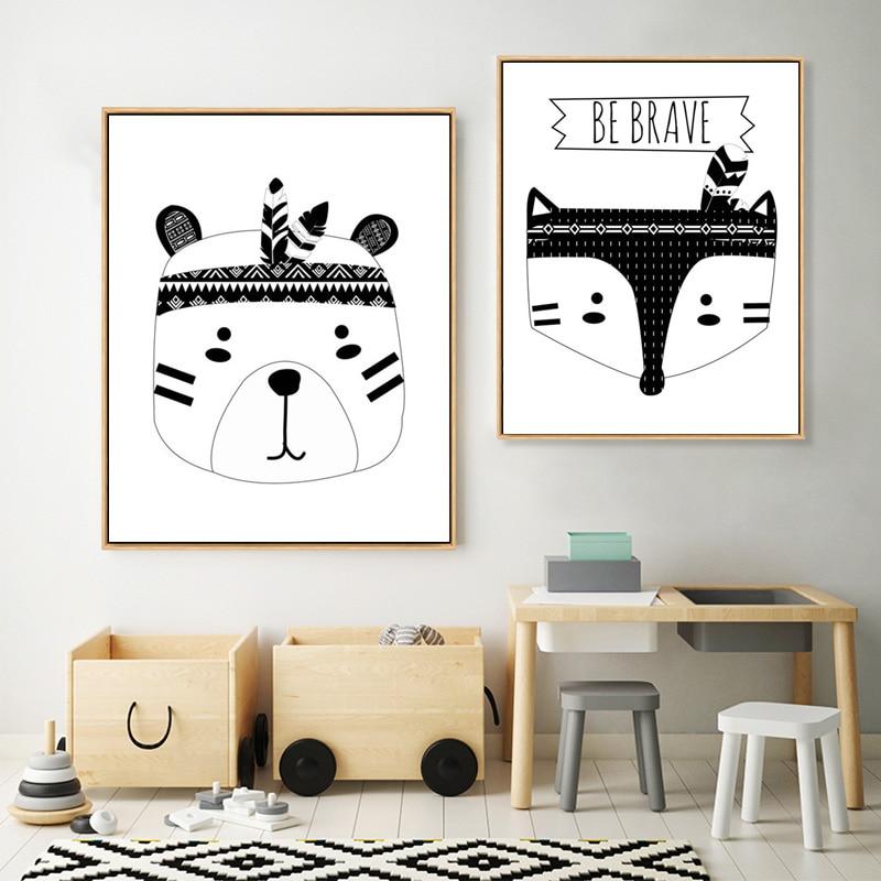 Lienzo blanco y negro pintura póster tribal oso zorro cabeza arte de pared Woodland Animal vivero cuadro de estilo nórdico chico decoración de habitación