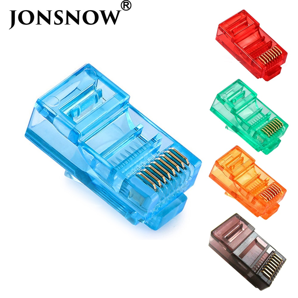 JONSNOW 20/50/100 pièces RJ45 câbles Ethernet Module prise connecteur réseau RJ-45 têtes en cristal Cat5 couleur Cat5e câble plaqué or