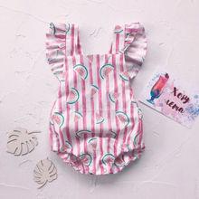 Cute Newborn Baby Girl Summer Watermelon Print Vertical stripes Ruffles Romper Jumpsuit One-Pieces Outfit Sunsuit