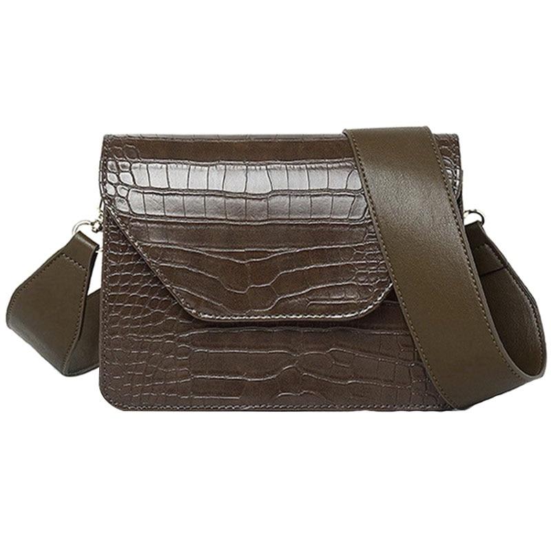 TFTP-Women Pu Leather Small Square Bag New Wide Shoulder Bag Vintage Crocodile Pattern Fashion Simple Messenger Bag Female