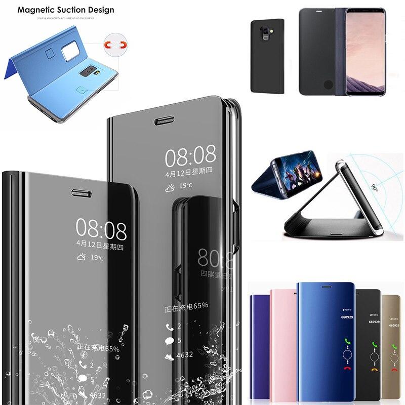 Claro espejo para Samsung Galaxy J5 J7 2016 J3 J5 J7 2017 J7Max más J6 más J2 Pro j7 Duo 2018 soporte plegable de cuero