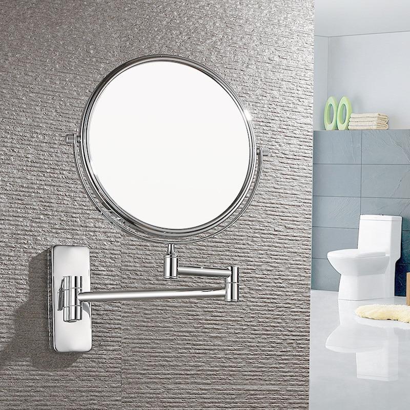Europeo 6in 8in montado en la pared plegable doble cara Normal + 3 X espejo de maquillaje de aumento para la belleza del dormitorio del baño espejo