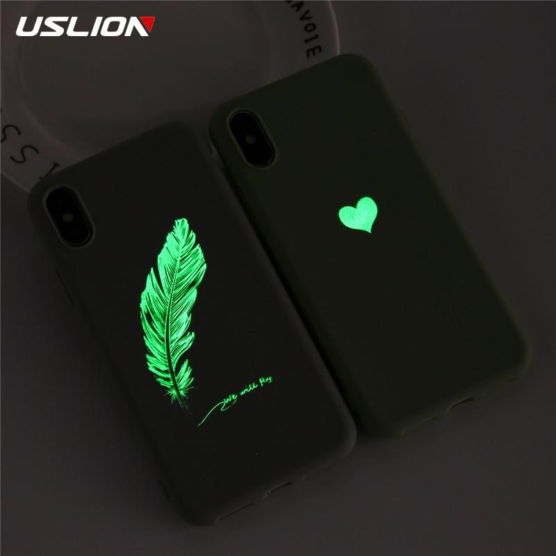 USLION suave TPU luminoso teléfono casos para iPhone 7 8 6s Plus resplandor ultrafino cubierta parejas amor corazón caso para iPhone 11 Pro 7Plus