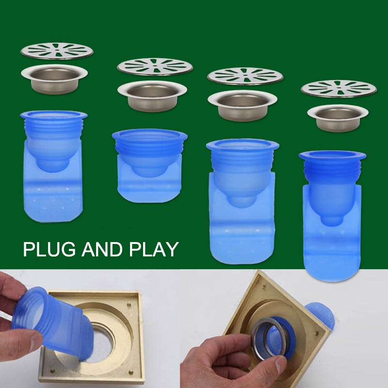 Drenaje de piso Core de cubierta de acero inoxidable utensilios de cocina ronda desodorante Anti-olor de Control de Plagas de alcantarilla Accesorios