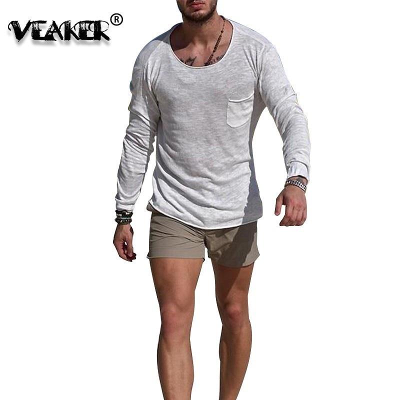 Novo outono profundo o pescoço t camisa dos homens ginásio de fitness sexy topos manga longa pulôver homme plus size ajuste fino tshirt dropshipping t