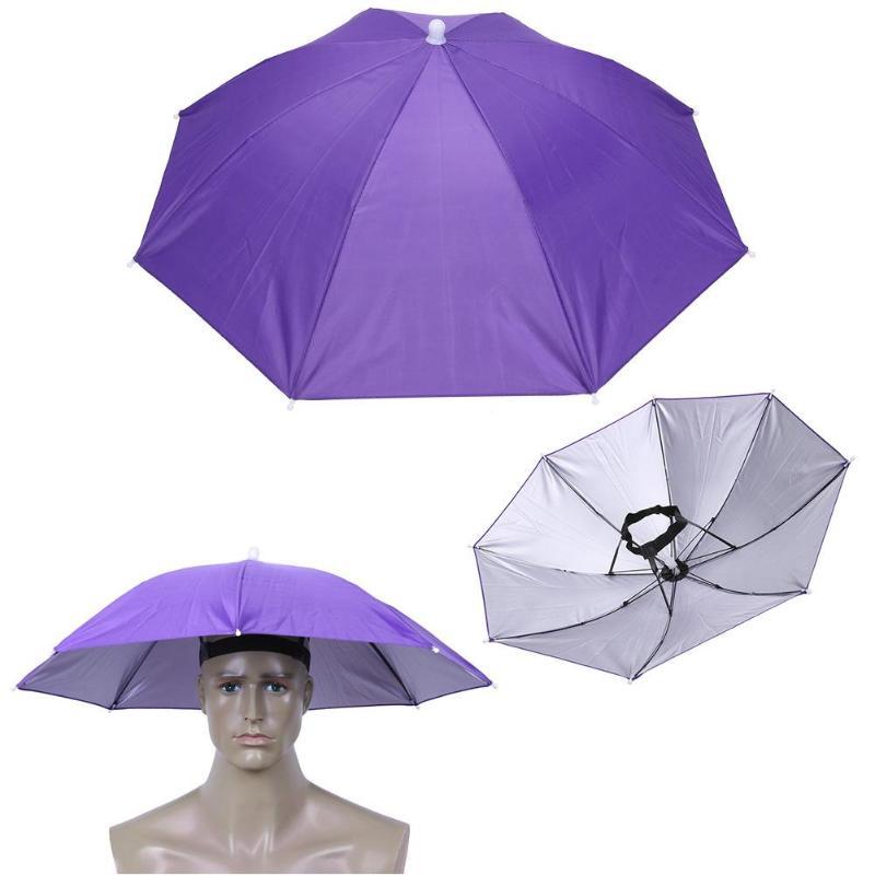 Plegable al aire libre paraguas de sol sombrero Anti-lluvia banda elástica cabeza sombrero paraguas al aire libre protector solar de pesca herramienta de la cabeza de paraguas